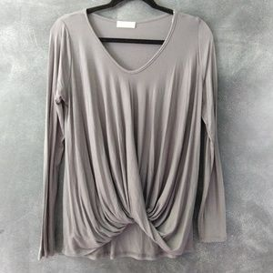 GINGER | Gray Twist Front Long Sleeve Blouse